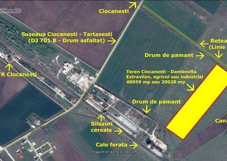 Ciocanesti - Dambovita - Vand 2-4 ha teren extravilan agro-industrial