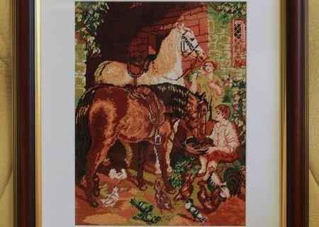 Goblen- Popasul cailor - 19x24 cm. Rama inclusa.