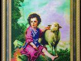 """Broderie cu margele de nisip """"Pastorul Divin"""" de Murillo (1618-1682)"""