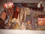 Diorama vikingi, macheta drakkar, nava barca lemn, figurine 1:100 15mm