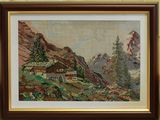 Goblen –Peisaj de munte - 20x28 cm. Rama inclusa.