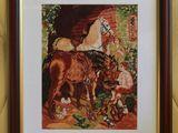 Goblen- Popasul cailor.Rama inclusa