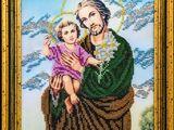 """Icoana brodata cu margele de nisip """"Sfantul Iosif cu Iisus"""""""