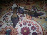 Pantofi negri cu toc argintiu