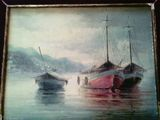 Pictura in ulei pe carton , reprezentand barci pe apa , semnat de grecul Konstantinos Sofianopoulos nascut in anii 1910-1990