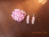 Set roz (inel si cercei) Handmade